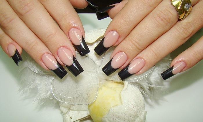 Фото ногтей нарощенных френч черный
